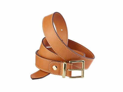Adjustable belt in leahter 35 mm brass buckle