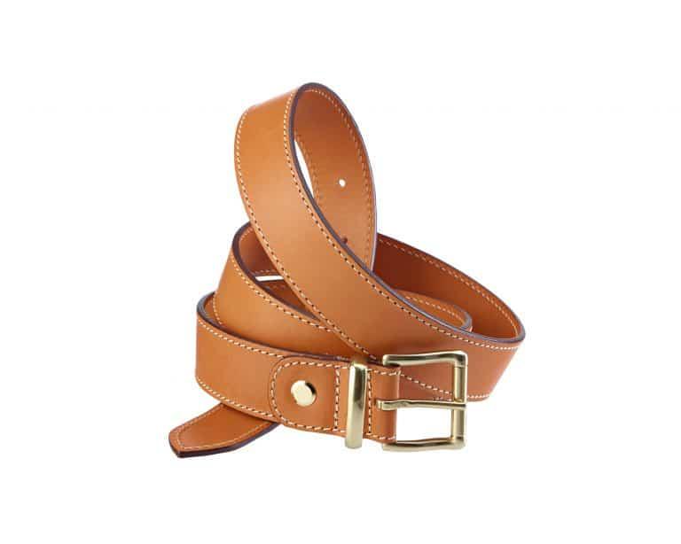 Adjustable belt in leahter 35 mm brass buckle